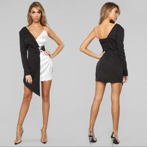 Fashion Nova Black & White Blazer Dress